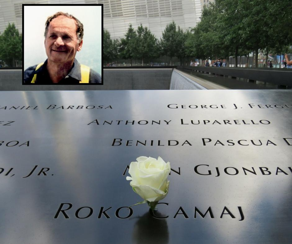 A white rose has been placed at the name of Roko Camaj at the 9/11 Memorial. An inset image of Camaj is at the top left of the image.