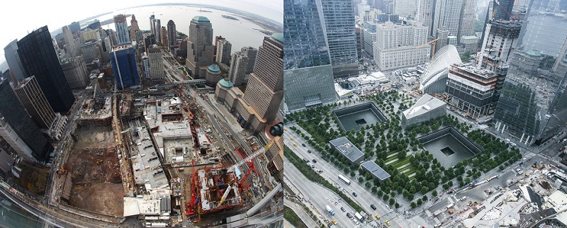 Two side by side images show Memorial plaza in 2009 and 2018. In the older photo, the Memorial is under construction and One World Trade Center has yet to be built. In the more recent photo, the Memorial is complete and One World Trade Center is seen standing in the background.