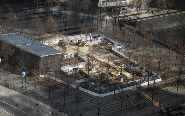 An aerial view shows the 9/11 Memorial Glade being constructed on Memorial plaza.