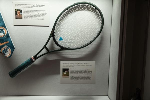 The tennis racket of equity research analyst Lindasy Stapleton, who worked on the 89th floor of the South Tower, is displayed at the In Memoriam gallery at the Museum.