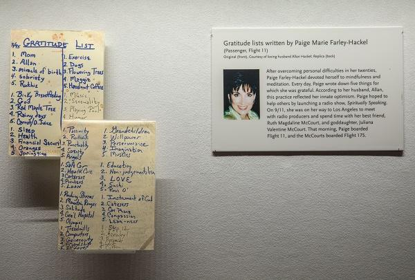 Paige Farley-Hackel's gratitude list is shown in a display case at the In Memoriam Gallery.