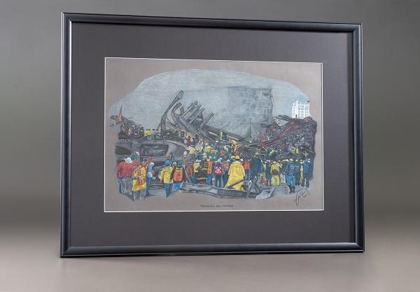 "The artwork ""Search for Heroes"" by Mitch Rosen depicts rescue workers searching the wreckage of Ground Zero."