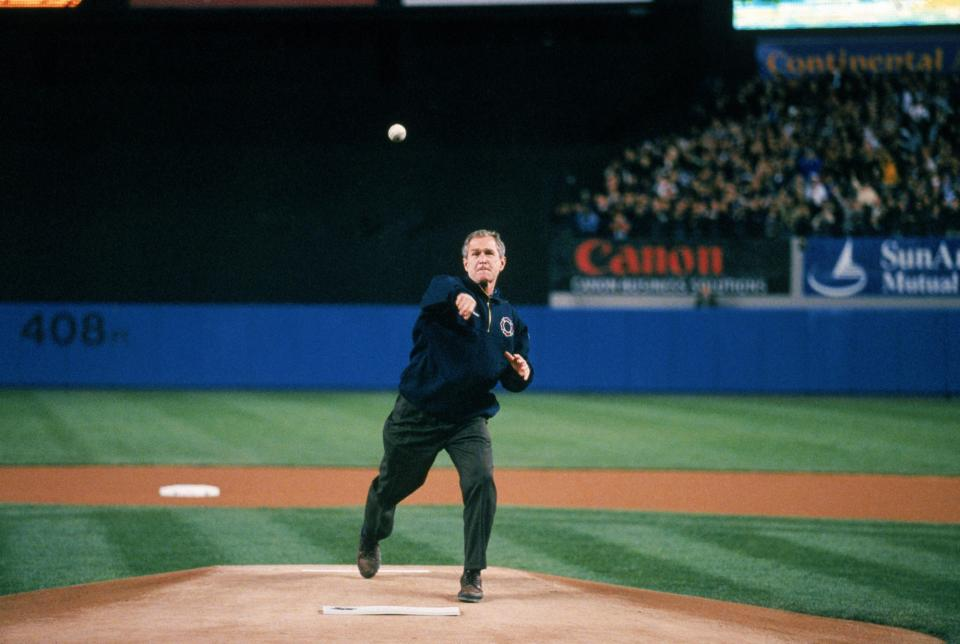 Remembering President George W. Bush's 2001 World Series Pitch   National  September 11 Memorial & Museum